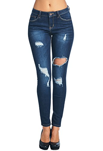 Vialumi Women's Distressed Skinny Jeans Dark Wash Blue 7