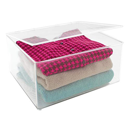 InterDesign Closet Binz Stackable Organizer Holder with Lid for  Sweaters Shirts, (Clear Acrylic Lid Organizer)