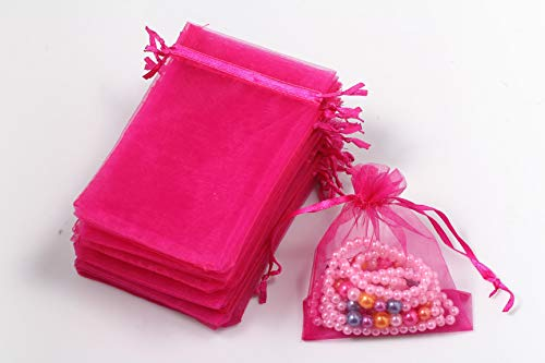 200pcs Drawstring Mesh Organza Jewelry Candy Pouch Party Wedding Favor Gift Bags (Hot Pink)