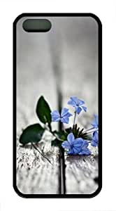 Blue Flowers 2 TPU Silicone Case Cover for iPhone 5/5S Black by mcsharks