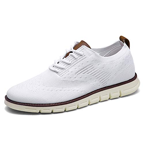 XIPAI Mens Wingtip Oxford Shoes Lace Up Fashion Sneakers Casual Walking Shoes White-02 US 10.5