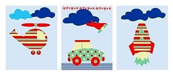 Kinderzimmer Poster Bilder Set Bunte Fahrzeuge Din A5 Matt Amazon