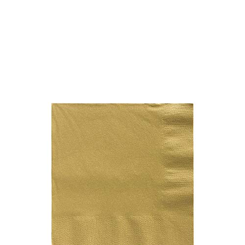 Amscan Big Party Pack Gold Beverage Napkins | Pack of 125 | Party Supply -