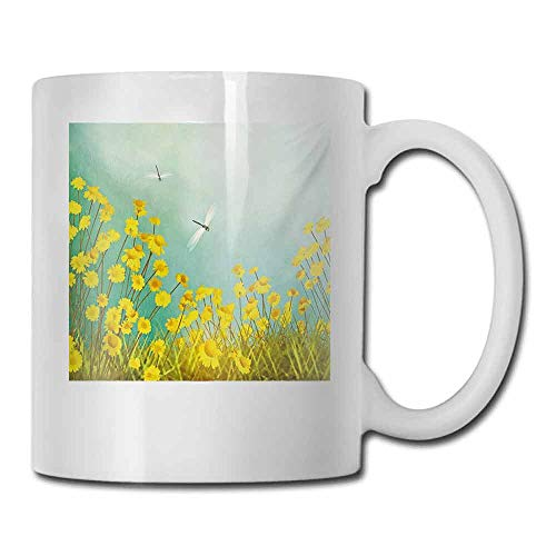 Tea Cup Dragonfly Flourishing Artistic Landscape with Daisies on Grass and Dragonflies in the Air for Office and Home 11 oz Green Yellow