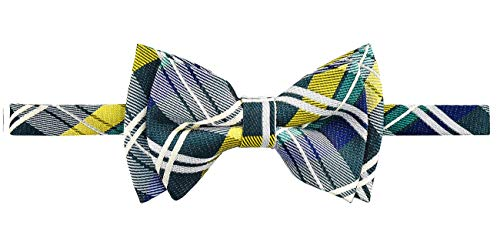 (Retreez Elegant Tartan Plaid Check Woven Microfiber Pre-tied Boy's Bow Tie - Dark Green, Yellow and Navy Blue - 4-7 years)