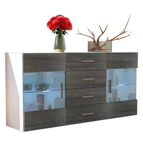 Fronts in Avola-anthracite 139 cm Sideboard Chest of Drawers Bari, Carcass in White matt   Fronts in White High Gloss