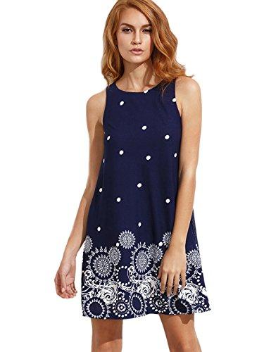 Romwe Women's Summer Sundress Floral Printed Sleeveless Casual A Line Dress Navy XL