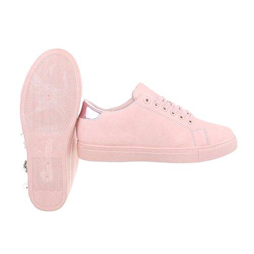 Ital-Design Sneakers Low Damenschuhe Schnürsenkel Freizeitschuhe Pink AB-188