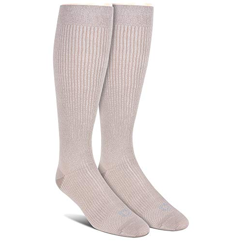 (Doctor's Choice Men's Graduated Compression, 8-15 mmhg, Over the Calf, Tan, 2 Pack Socks, Shoe Size 6-12.5)