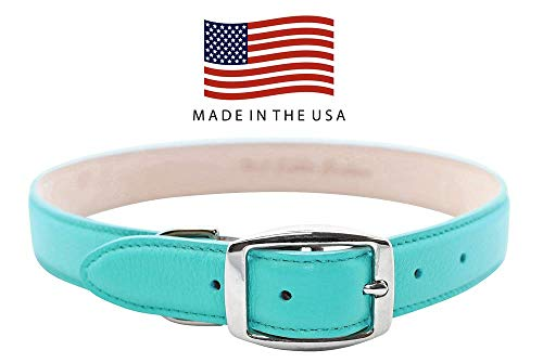 Real Leather Creations Dog Collar - Teal Genuine Colorado Leather - American Factory Direct - Various Sizes and Colors - Prime Quality - Made in USA Extra Large FBA926