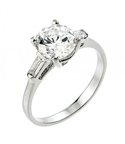 925 Sterling Silver Round and Baguette CZ 3-Stone Engagement Ring (Size 4.5) ()