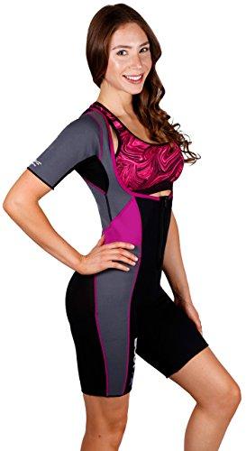 Body Spa Light Body Sauna Suit Neoprene Full Body Shaper GYM Sport Aerobic (Lrg, Purple w/Grey) (Body Flashlight)