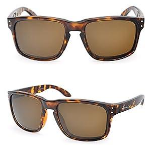 BNUS Italy made Corning Real Glass Lens Polarized Sunglasses for men women (Frame: Tortoise/Lens: Brown B15, Polarized)