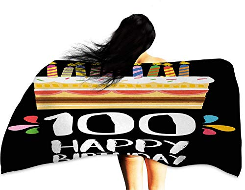 Personalized Bath Towel 100th Birthday Old Legacy 100 Birthday Party Cake Candles on Black Major Milestone Backdrop W10 xL39 Suitable for bathrooms, Beaches, Parties