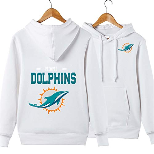 oded Letters Print Miami Dolphins Solid Color Pullover Hoodies(L,White) ()