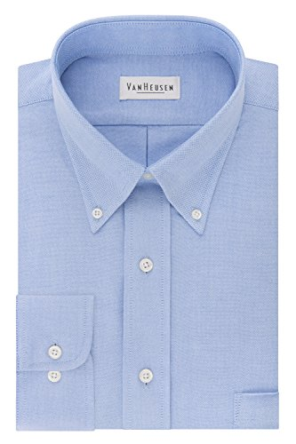 Van Heusen Men's Long Sleeve Oxford Dress Shirt, Blue, Large