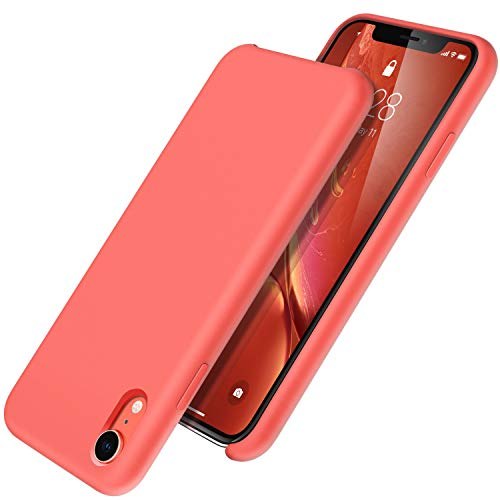 UGT iPhone XR Case, Liquid Silicone Rubber Slim Shockproof Case Microfiber Cloth Lining Compatible with Apple iPhone XR 6.1 inch, Coral