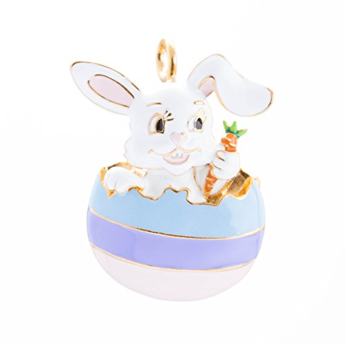 Accessoriesforever Spring Easter Jewelry Bunny in Easter Egg Carrot Charm Brooch Pin Pendant