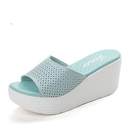 Chanclas MEIDUO sandalias 7.4cm Zapatillas de tacón alto antideslizante al aire libre de la manera femenina del verano (azul/negro/color de rosa/blanco) cómodo Azul