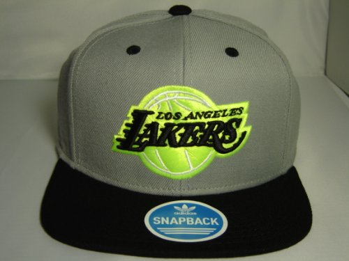 Adidas Los Angeles Lakers Neon Logo Brim 2 Tone Gray Snapback Cap