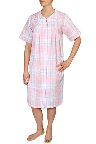 Seersucker Elaine Miss - Miss Elaine Plus Size Women's Seersucker Short Snap Robe - with Short Sleeves, Two Inset Side Pockets, and an Embroidery on The Front Yoke