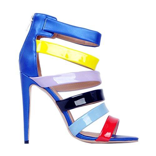 de haut en partie des Handmade talon Femmes patchwork blue chaussures 11cm sandales été cuir Kolnoo qTvZIwYxw