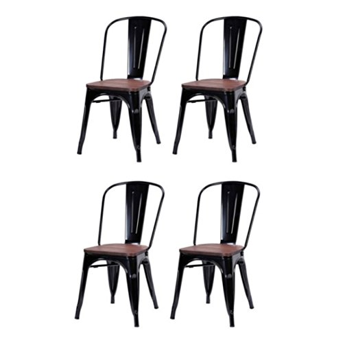 Classic Industrial Style Metal Bar Stools Solid Steel Construction Comfortable Backrest Stackable Side Chair Home Office Furniture - Set of 4 Black - Doctors Joondalup