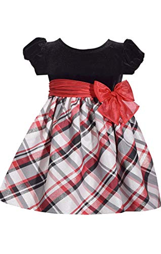 - Bonnie Jean Short Sleeve Christmas Dress with Black Velvet and Red Nordic Plaid 2T