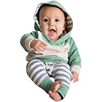 AMSKY 3Pcs Newborn Toddler Baby Boys Girls Long Sleeve Romper Bodysuit Tops+Pants+Hat Outfits Set