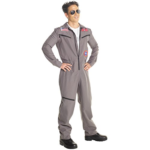 (Mens Military Pilot Costume Professional Flightsuit Adults Jumpsuit)