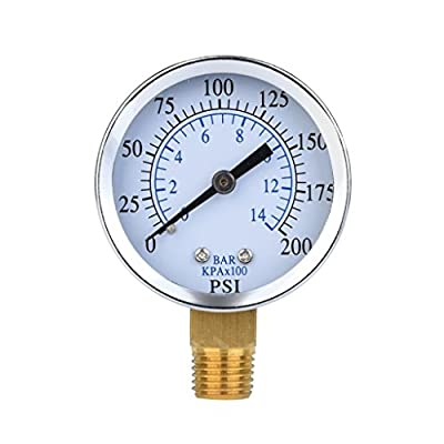 Pressure Test Gauge, Metal 1/4-inch NPT Mini Air Compressor Hydraulic Pressure Gauge Face Dial Plate