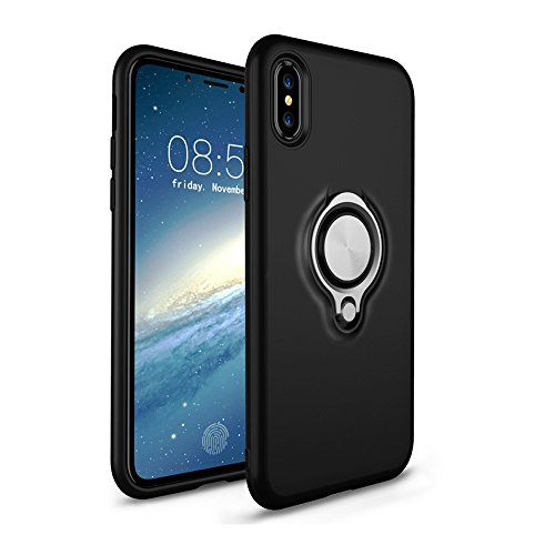 Iphone X Case With 360 Rotating Ring Grip Holder Stand Car Bracket Iphone Shell Ring Suction Matte Phone Case For Apple Iphone X 5 8  2017  Iphone X  1