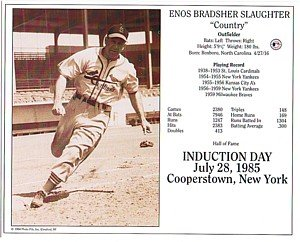 Fame Induction Card - Hall of Fame Induction Photo Card Enos Slaughter