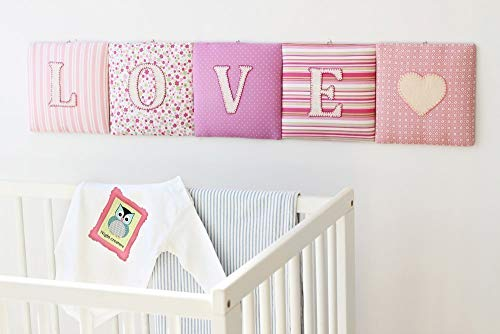 Piccolina Boutique Personalized Name Banner Wall Cushion, for Boys and Girls, Name Sign, Hanging Wall Letters, Nursery Decor, Baby Shower