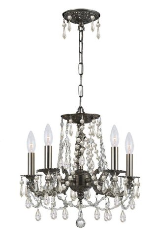 Crystorama 5545-PW-CL-MWP Crystal Accents Five Light Mini Chandeliers from Gramercy collection in Pwt, Nckl, B/S, Slvr.finish,