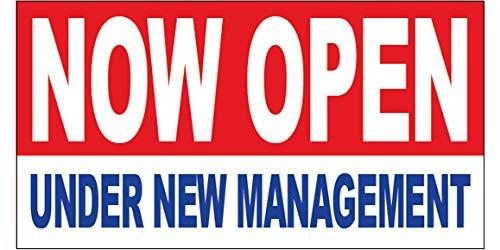 - Now Open Under New Management Vinyl Banner Sign 2x4 ft - rb