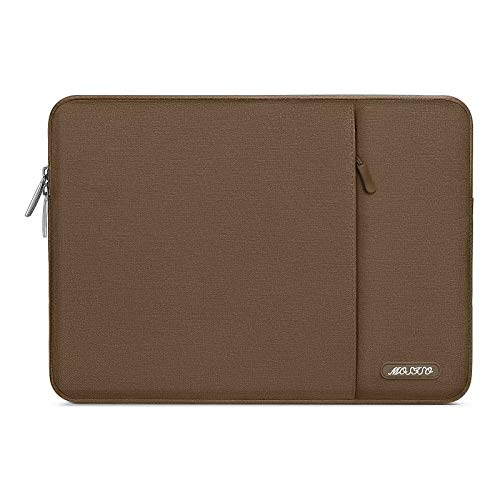 MOSISO Laptop Sleeve Bag Compatible with 13-13.3 inch MacBook Pro, MacBook Air, Notebook Computer, Water Repellent Polyester Vertical Protective Case with Pocket, Light Brown