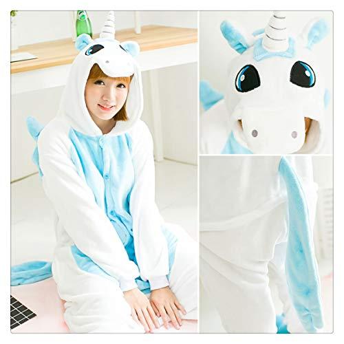 Warm Flannel Pajamas for Women Pajama Couples Cartoon Sleepwear Adult Animal Onsies Adulto Unicorn Panda Stitch Pijamas Blue Unicorn S