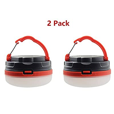 2 Pack Camping Lantern, Bizoerade Portable LED Tent Light - Water Resistant - Outdoor Durable - 3 Light Mode - Camping Equipment Gear Gadgets Lamp for Outdoor & Indoor