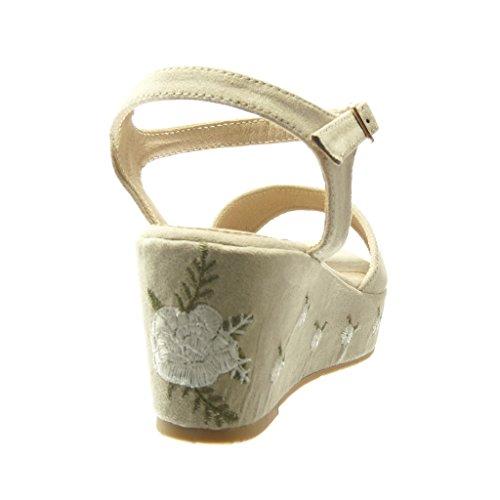 Angkorly - Zapatillas de Moda Sandalias Mules zapatillas de plataforma mujer flores bordado Talón Plataforma 6.5 CM - Beige
