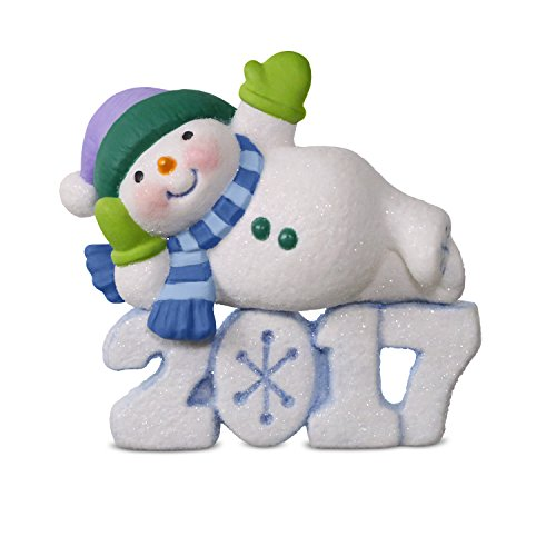 Hallmark Keepsake 2017 Frosty Fun Decade Lounging Snowman Dated Christmas Ornament