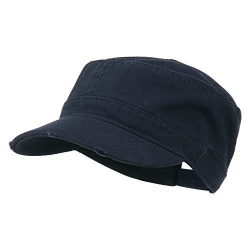 - Garment Washed Distressed Military Cap - Navy OSFM