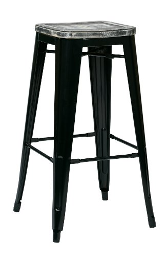 Office Star Bristow 30-Inch Black Metal Frame Barstool with Vintage Wood Seat, Ash Crazy Horse, 2-Pack