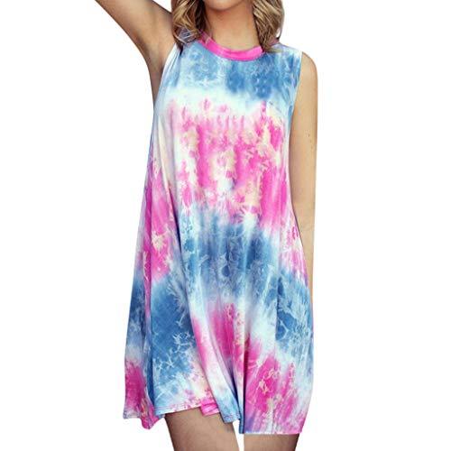 LIM&Shop  Summer Tank Dress Casual Mini Dress Sleeveless Gradient Top Crew Neck T-Shirt Knee-Length Skirt Skater Dress Pink -