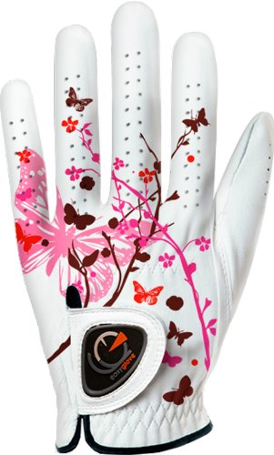 Custom Golf Gloves - easyglove Spring_Butterfly-Pink-W Women's Golf Glove (White), Small, Worn on Left Hand