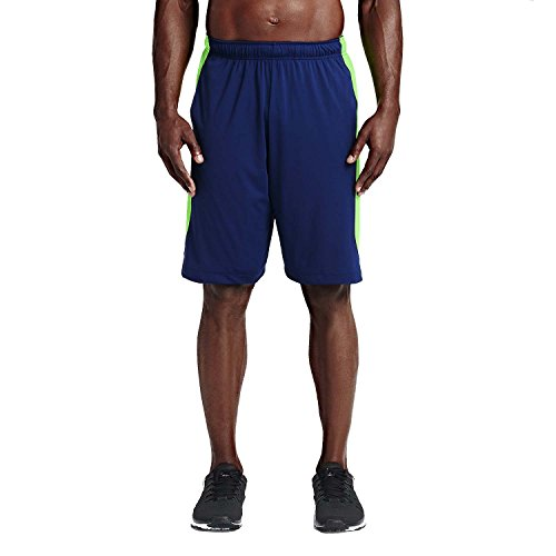 NIKE Men's Dri-Fit Hyperspeed Knit Training Shorts-Deep Royal Blue/Voltage Green-Small