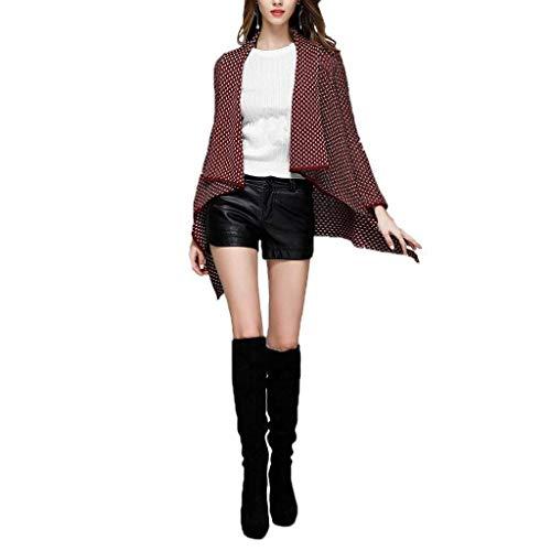 A Alla Primaverile Casuale Autunno Donna Nero Moda Cappotto Giovane Outerwear Manica Houndstooth Vintage Cardigan Women Elegante Giacca Lunga Maglia Asimmetrica gqIYxWO7