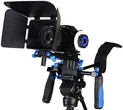 DSLR RIG With Follow Focus And Matte Box Shoulder Mount Rig with COUNTER WEIGHT by Kaezi