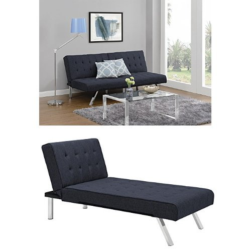 DHP Emily Sectional Sofa Sleeper, Navy by DHP