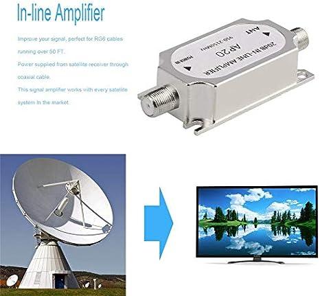 High Tech Amplificateurs De Signal Argent Satellite 20db Amplificateur En Ligne Amplificateur De Signal 950 2150mhz Pour Lamplificateur De Puissance Du Canal De Cable Dantenne Reseau Dish